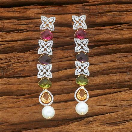 54037 CZ Long Earring with 2 tone plating