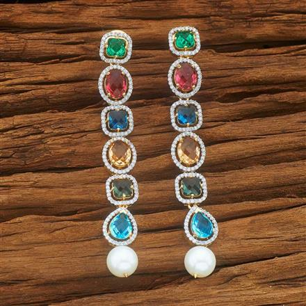 54039 CZ Long Earring with 2 tone plating