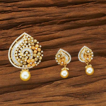 54055 CZ Classic Pendant Set with gold plating