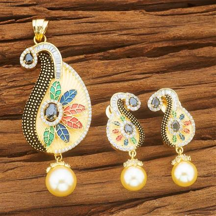 54059 CZ Classic Pendant Set with gold plating