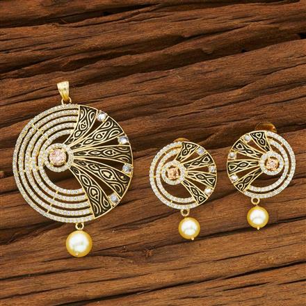 54060 CZ Classic Pendant Set with gold plating
