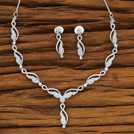54063 CZ Delicate Necklace with rhodium plating