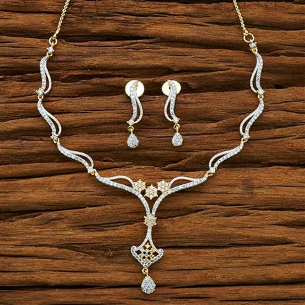 54064 CZ Delicate Necklace with 2 tone plating