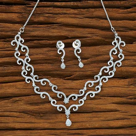 54067 CZ Delicate Necklace with rhodium plating