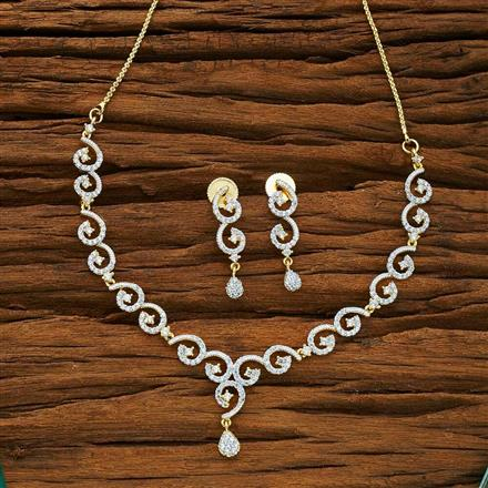 54069 CZ Delicate Necklace with 2 tone plating