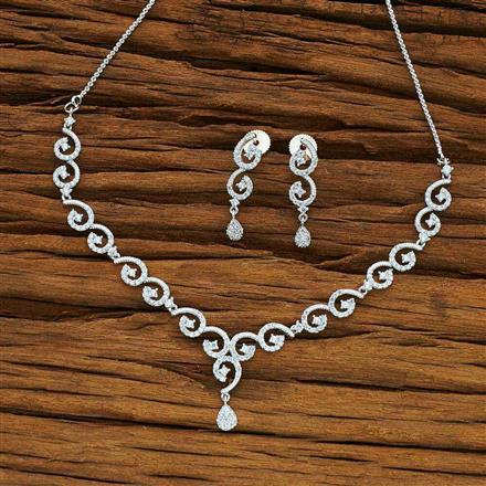 54071 CZ Delicate Necklace with rhodium plating