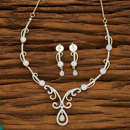54072 CZ Delicate Necklace with 2 tone plating