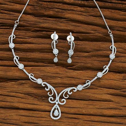 54073 CZ Delicate Necklace with rhodium plating