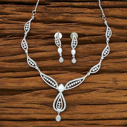 54076 CZ Delicate Necklace with rhodium plating