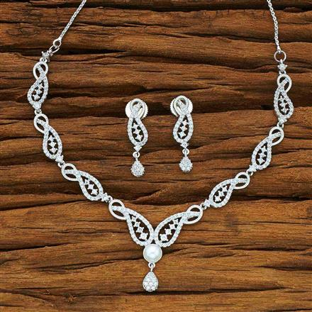 54078 CZ Delicate Necklace with rhodium plating