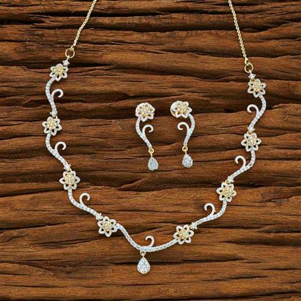 54080 CZ Delicate Necklace with 2 tone plating
