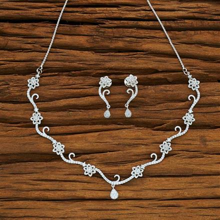 54081 CZ Delicate Necklace with rhodium plating