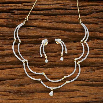 54082 CZ Delicate Necklace with 2 tone plating