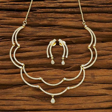 54083 CZ Delicate Necklace with gold plating