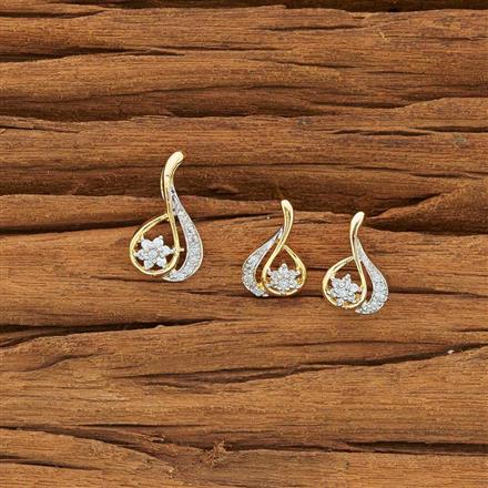 54112 CZ Delicate Pendant Set with 2 tone plating
