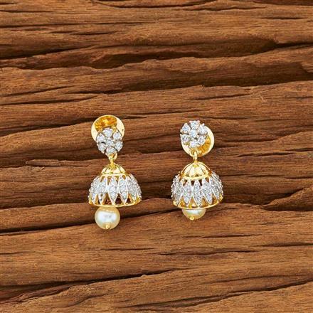 54134 American Diamond Jhumki with 2 tone plating