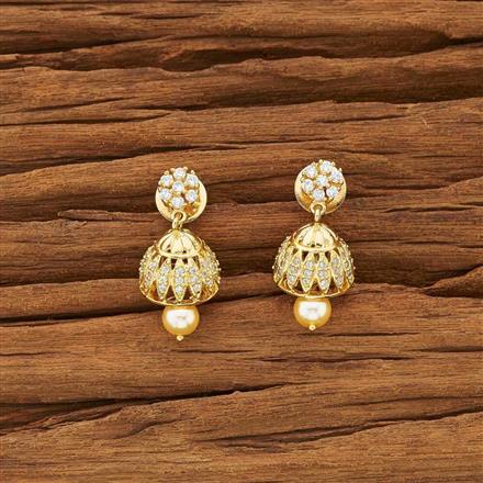 54135 American Diamond Jhumki with gold plating