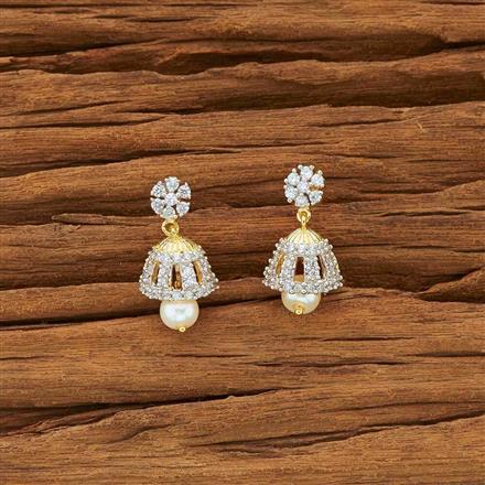 54136 American Diamond Jhumki with 2 tone plating