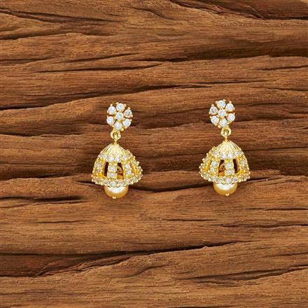 54137 American Diamond Jhumki with gold plating
