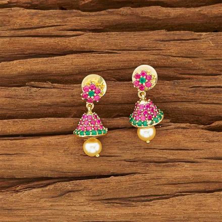 54138 American Diamond Jhumki with gold plating