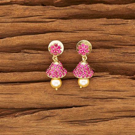54139 American Diamond Jhumki with gold plating