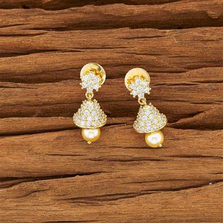 54141 American Diamond Jhumki with gold plating