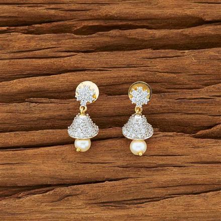 54142 American Diamond Jhumki with 2 tone plating