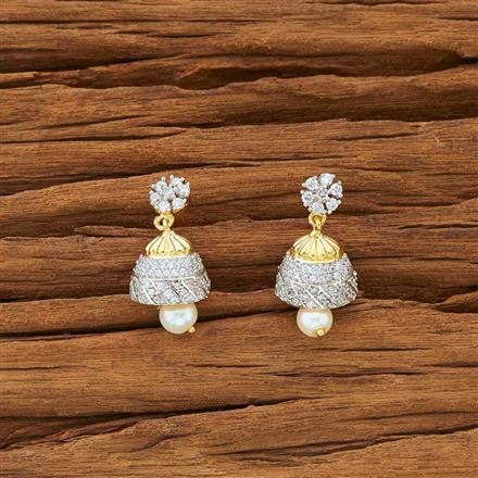 54144 American Diamond Jhumki with 2 tone plating