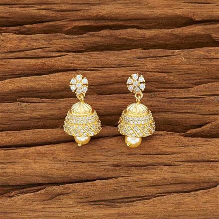 54145 American Diamond Jhumki with gold plating