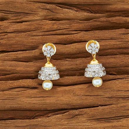 54146 American Diamond Jhumki with 2 tone plating