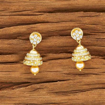 54147 American Diamond Jhumki with gold plating
