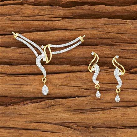 54156 CZ Classic Mangalsutra with 2 tone plating