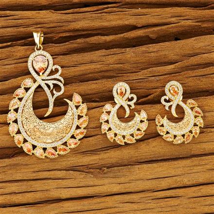 54195 CZ Classic Pendant Set with gold plating