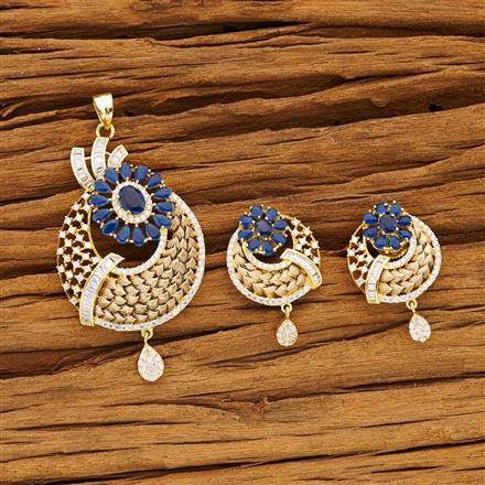 54196 CZ Classic Pendant Set with gold plating
