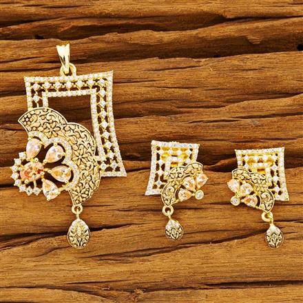 54197 CZ Classic Pendant Set with gold plating