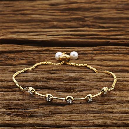 54203 CZ Adjustable Bracelet with 2 tone plating