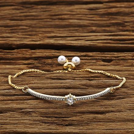 54205 CZ Adjustable Bracelet with 2 tone plating
