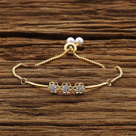 54206 CZ Adjustable Bracelet with 2 tone plating