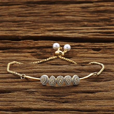 54207 CZ Adjustable Bracelet with 2 tone plating