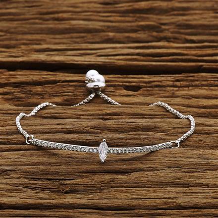 54212 CZ Adjustable Bracelet with rhodium plating