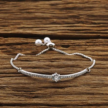 54213 CZ Adjustable Bracelet with rhodium plating