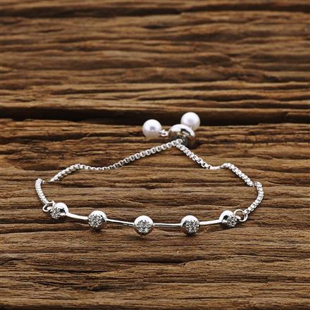 54214 CZ Adjustable Bracelet with rhodium plating