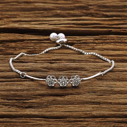 54215 CZ Adjustable Bracelet with rhodium plating
