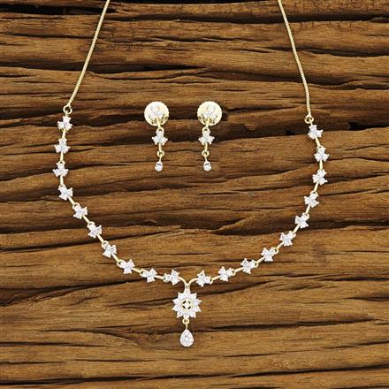54272 CZ Delicate Necklace with 2 tone plating