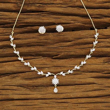 54273 CZ Delicate Necklace with 2 tone plating