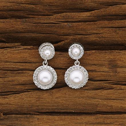 54287 CZ Delicate Earring with rhodium plating