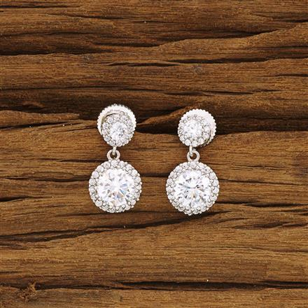 54289 CZ Delicate Earring with rhodium plating