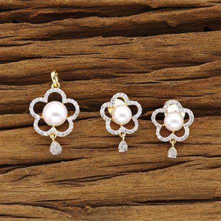 54318 CZ Delicate Pendant Set with 2 tone plating