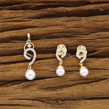 54322 CZ Delicate Pendant Set with 2 tone plating
