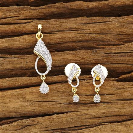 54325 CZ Delicate Pendant Set with 2 tone plating